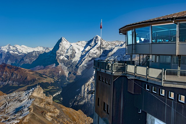 Birg ,The Grate wall of the Eiger mountain, the Mönch and The Schilthorn.