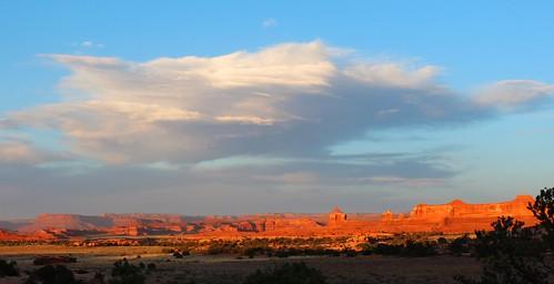 camping sunset sky orange nature weather rock clouds utah canyonlandsnationalpark redrock slickrock needles