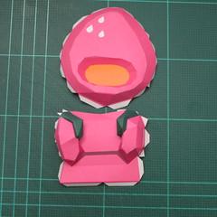 วิธีทำโมเดลกระดาษตุ้กตาคุกกี้รัน คุกกี้รสสตอเบอรี่ (LINE Cookie Run Strawberry Cookie Papercraft Model) 014