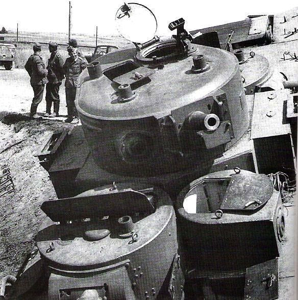 Abandoned T-35 multi-turret heavy tank