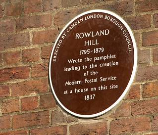 Brown Plaque to commemorate Rowland Hill - Cartwright Gardens | by nick.harrisonfli