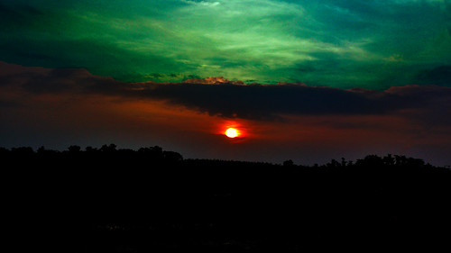 sunset sun landscape greenish
