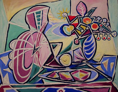 raw oilpainting pablopicasso stlouismissouri oiloncanvas cubism stlouisartmuseum 7549 canong10 mandolinandvaseofflowers explored9july14