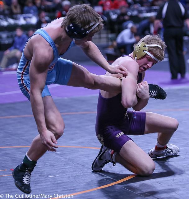 145AA - Semifinal - Tyler Wagener (Waconia) 32-3 won by major decision over Garrett Aldrich (Albert Lea Area) 42-5 (MD 12-2)