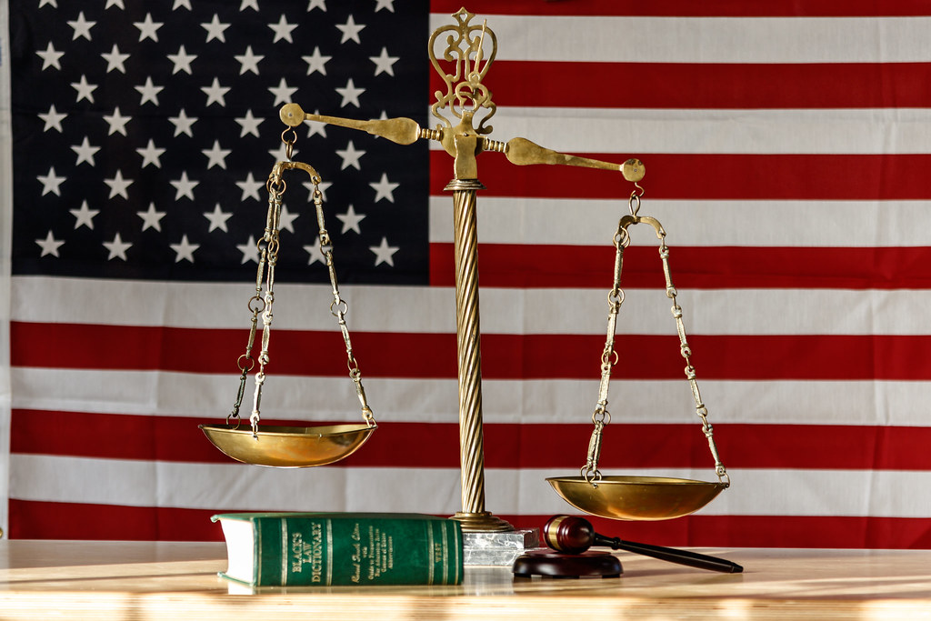 Scales of Justice Law Dictionary Gavel USA Flag