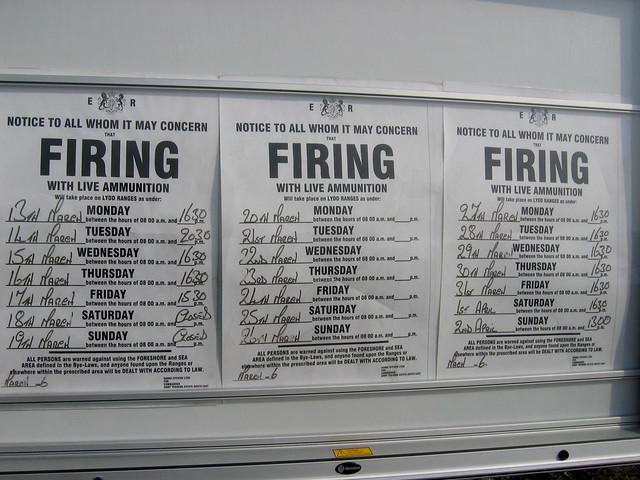 Lydd Ranges firing information