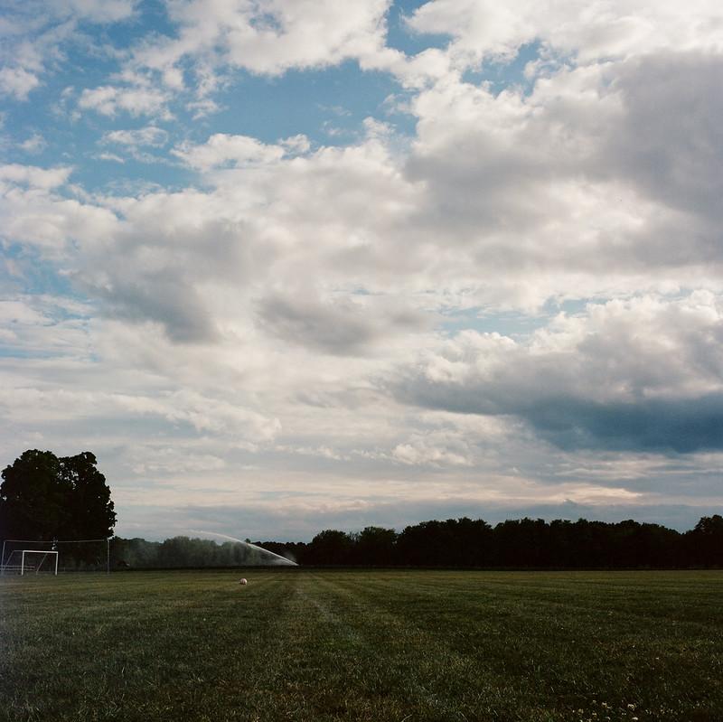 A hot summer soccer field