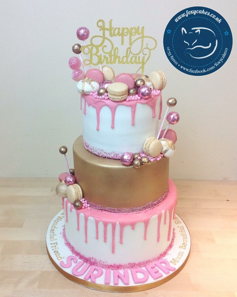 Fine 3 Tier Drip Cake With Sweets And Macarons Cake Thefoxycakeco Funny Birthday Cards Online Elaedamsfinfo