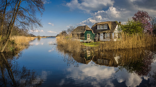 reflection peat land lake ankeveen noordholland bright blue color colors colours colour clouds cloud landscape nature netherlands nederland outdoors outdoor panorama sony sky sun spring tree trees thenetherlands house farmhouse wimvandem water wetlands 200249faves greatphotographers