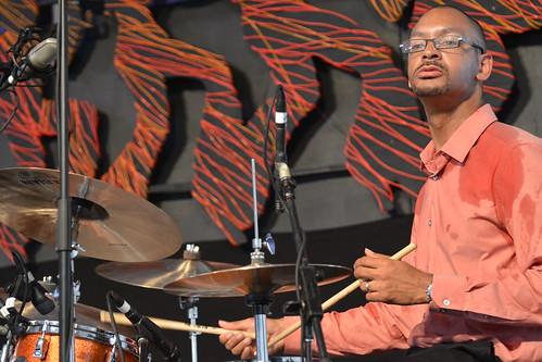 Jason Marsalis drumming for Ellis Marsalis in the Jazz Tent. Photo by Kichea S Burt.