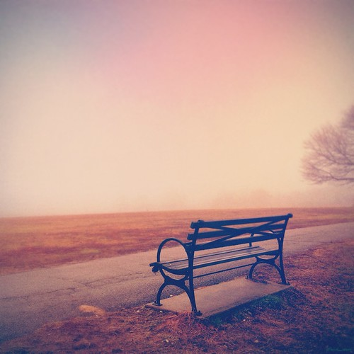 park autumn fall fog bench iphone vsco iphoneography snapseed iphone5s