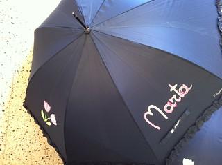 mi nombre en un paraguas