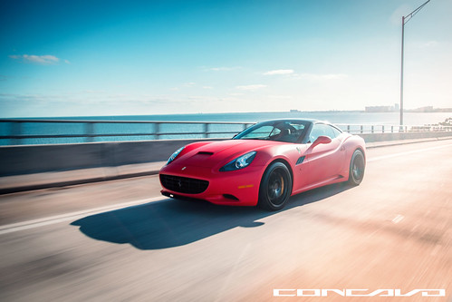 Ferrari California Matte Red on CW-12 Gloss Black | by Concavo Wheels