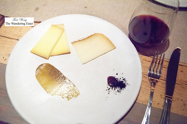 Cheese plate - Tarentaise (left) & Pyrenees brebis cheese with pistachio paste and onion ash