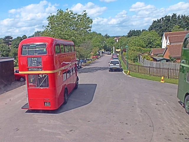 A 'through the window shot' as  Leyland PD2 RTL1076 LUC 253, departs for Epping Tube Station. Epping Ongar Railway. 25 05 2014