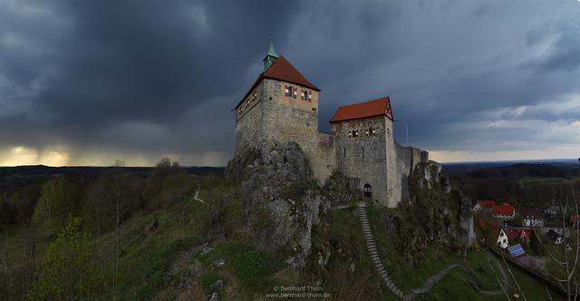 Thunderstorm over Burg Hohenstein in early spring