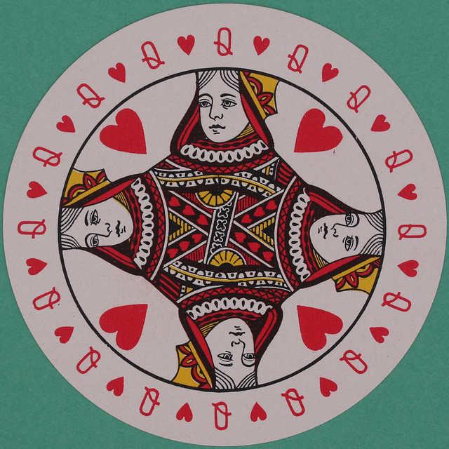 Discus Round Playing Card Queen of Hearts