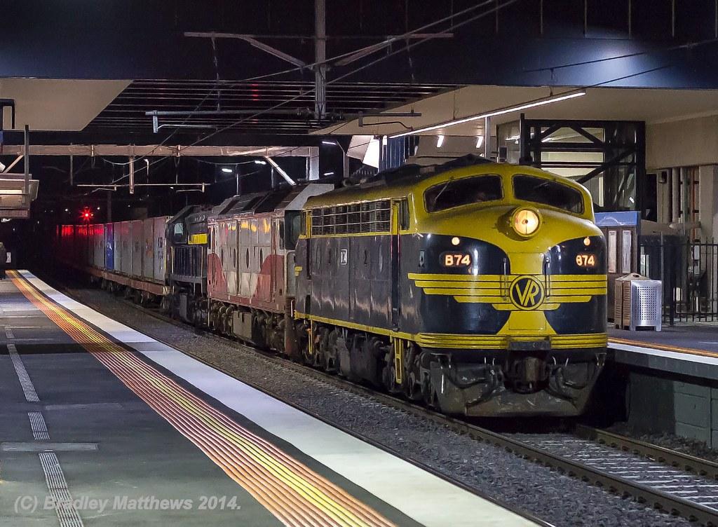 B74-G532-X31 with #9373 down Qube Deniliquin rice train at Sunshine (5/5/2014) by Bradley Matthews