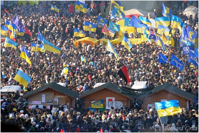 Vietche sur la place de l'indépendance (Maidan Nezalezhnosti ), Kiev, Ukraine - 22/12/2013- photo Bernard Grua DR