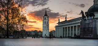 Sunset in Vilnius Cathedral square | by Mantas Volungevicius