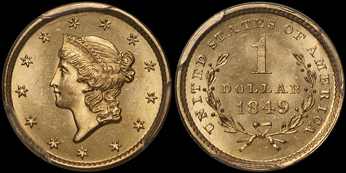 1849 Open Wreath $1.00 PCGS MS65 CAC | by RareGoldCoins.com