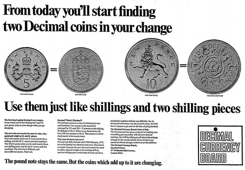23rd April 1968 - First decimal coins issued | by Bradford Timeline