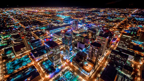 Phoenix Arizona Downtown Night Aerial Photo from Helicopter | by jerryfergusonphotography