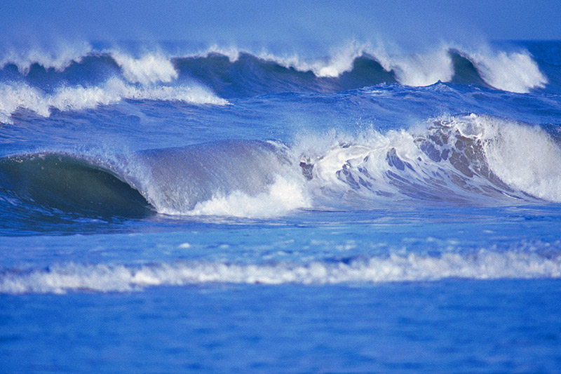 Waves breaking on Long Beach, Tofino, West Coast Vancouver Island, British Columbia