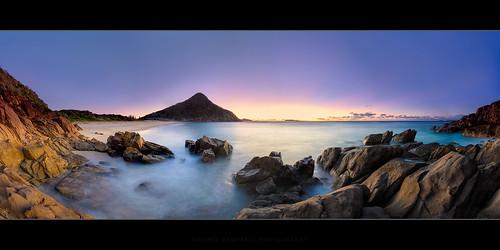 ocean water sunrise rocks australia newsouthwales zenithbeach shoalbay rgnd09