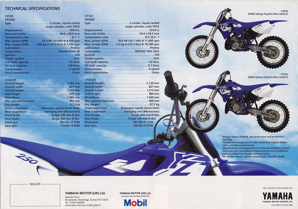 Phenomenal 1998 Yamaha Yz125 Amd Yz250 Brochure Tony Blazier Flickr Customarchery Wood Chair Design Ideas Customarcherynet