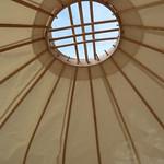Inside a mini yurt