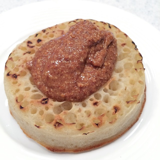 This tastes like ban chean kuih: Ginger and White's roasted peanut butter on top of crumpet #allshots_ #bestsnaps #foodporn #foodilove #foodsofig #foodsofig #foodstagram #foodspotting #foodforfoodies #boolondon #london #peanutbutter