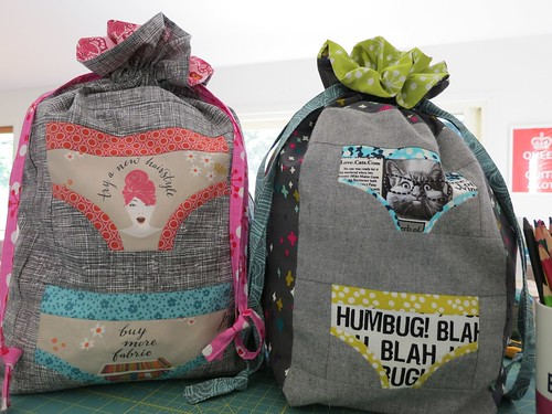 Lined-drawstring bags (tutorial by Jeni from In Color Order), with undies from Penny's Sewtakeahike pattern!
