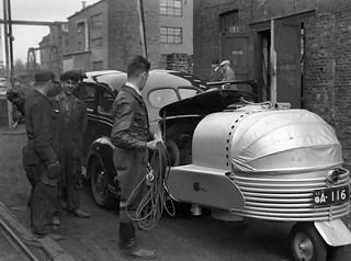 Broadcast van for sound with a wood gas unit, 1939.