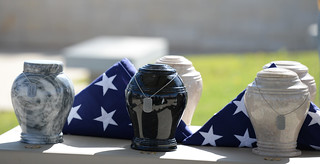 Urns at Camp Mabry   by Texas Military Department