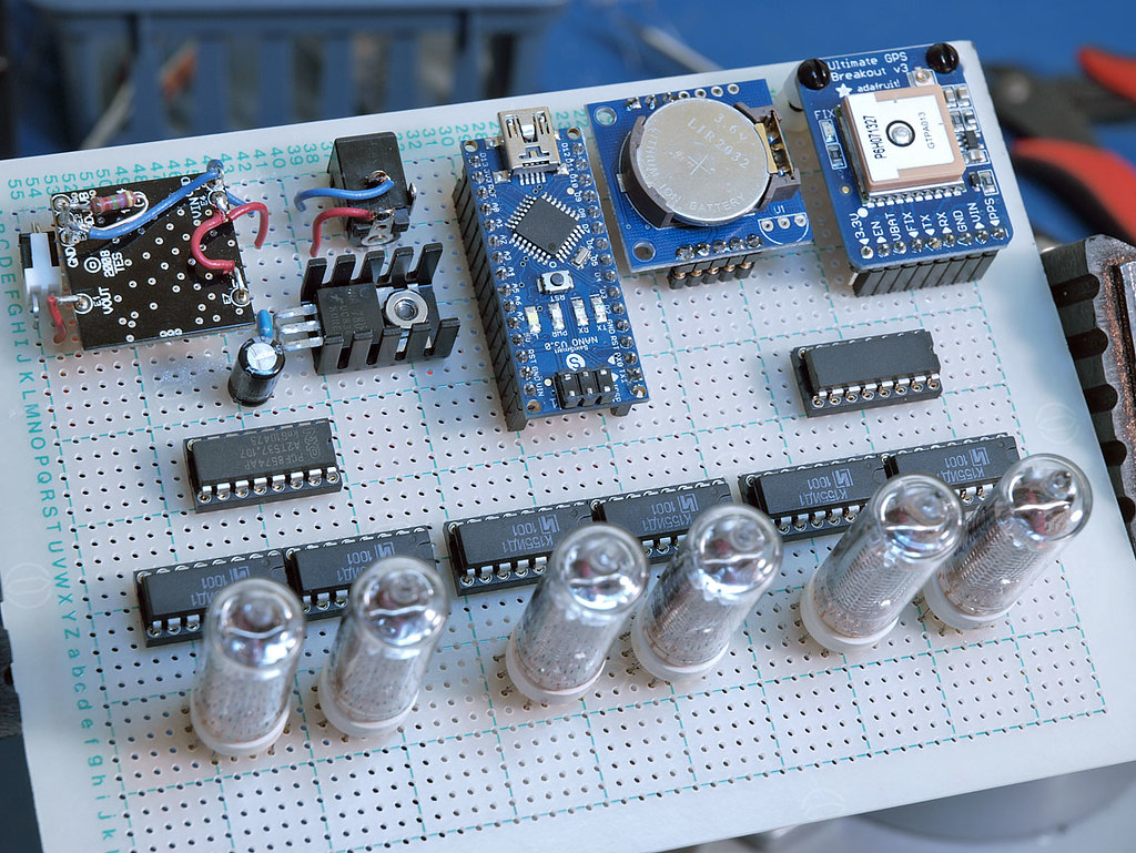 nixie tube arduino clock, component side, one digit workin