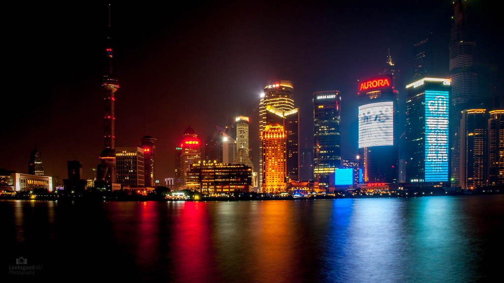Shanghai Skyline At Night 4k Wallpaper Desktop Backgroun