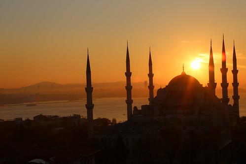 orange sun sunrise turkey istanbul mosque bluemosque