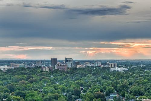 sunset summer skyline fan downtown darwin panasonic idaho boise rays crepuscular 1445 gf1 fandarwin