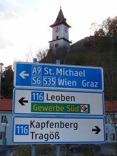 Clocktower and signpost in Bruck an der Mur