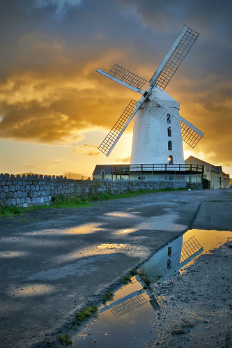 ireland light sky orange building tower windmill architecture sunrise canon reflections landscape puddle dawn coast glow tripod sigma landmark kerry 1770 tralee countykerry ringofkerry rotors 70d blenerville