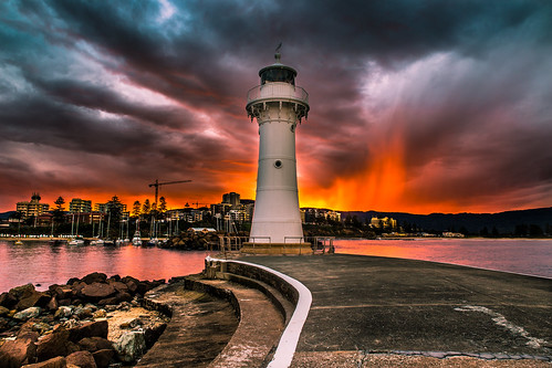 Amazing sunset Wollongong Harbour