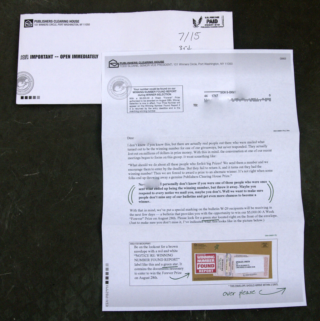 Publishers Clearing House junk mail | Read more about my adv