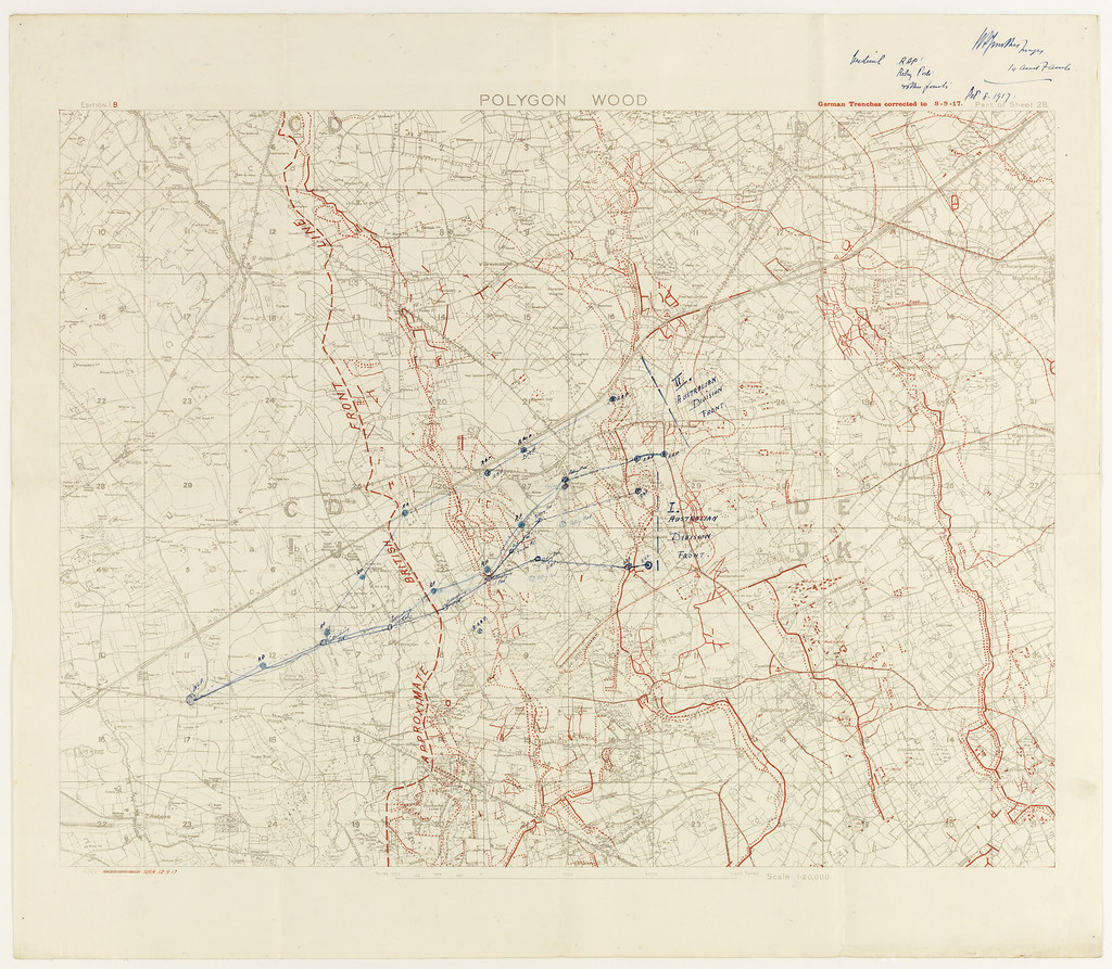 Map - Polygon Wood | Map showing German lines as of 9 Septem