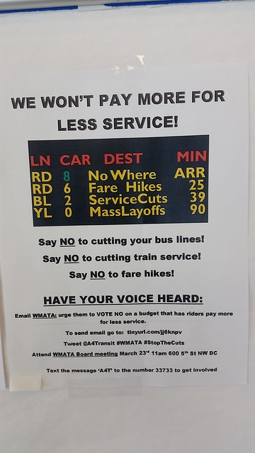 Flyer calling attention to Metrorail fare increases and service cuts posted at the Trips information center at the Silver Spring Transit Center