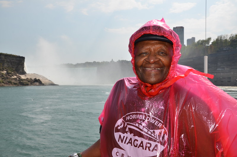 Archbishop Desmond Tutu in Front of the Horseshoe Falls