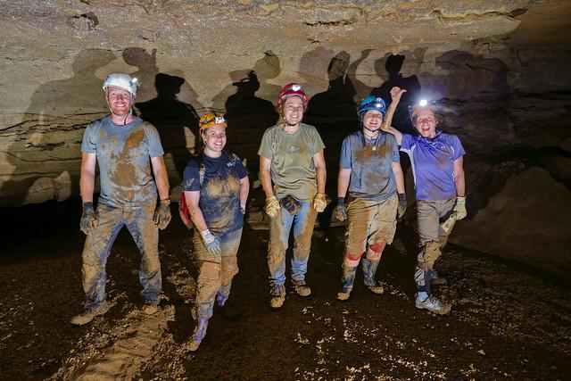 Jim Fox, Jamie Averbeck, Cheryl Pratt, Kendra Kusanagi, Theresa Averbeck, Bonk Knob Cave, CaverDash 2014, Van Buren County, Tennessee