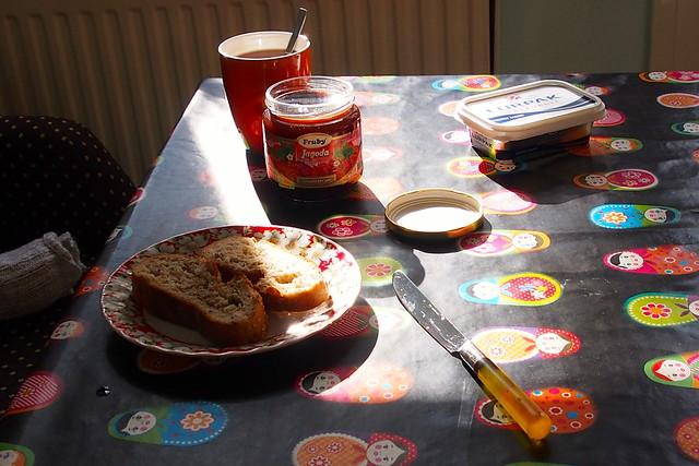 Sunny relaxing breakfast.