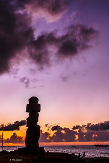 Easter Island moai statue silhouetted at dusk near Hanga Roa | by Phil Marion (176 million views - THANKS)