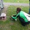 petting a german travelling cat at Castle Douglas